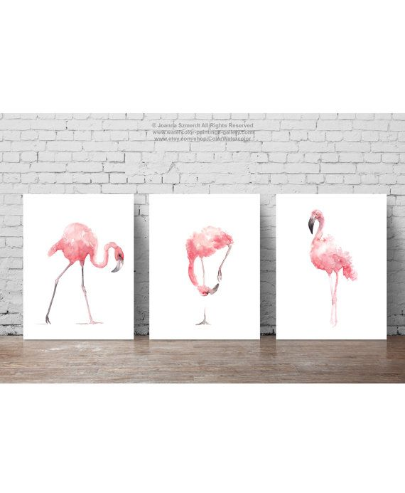 Pink Flamingo Set 3 Art Prints, Flamingoes Whimsical Tropical Artwork, Pink Bird Wall Decor, Flamingos Wall Art Abstract Watercolor Painting