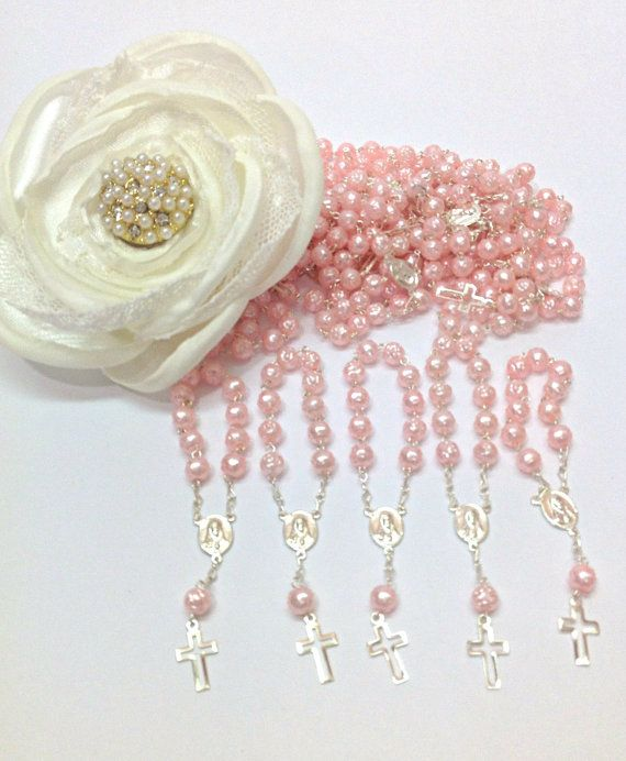 25 pcs Pearl First communion favors Recuerditos Bautizo 25pz/ Mini Pearl Rosary Baptism Favors 25 pcs