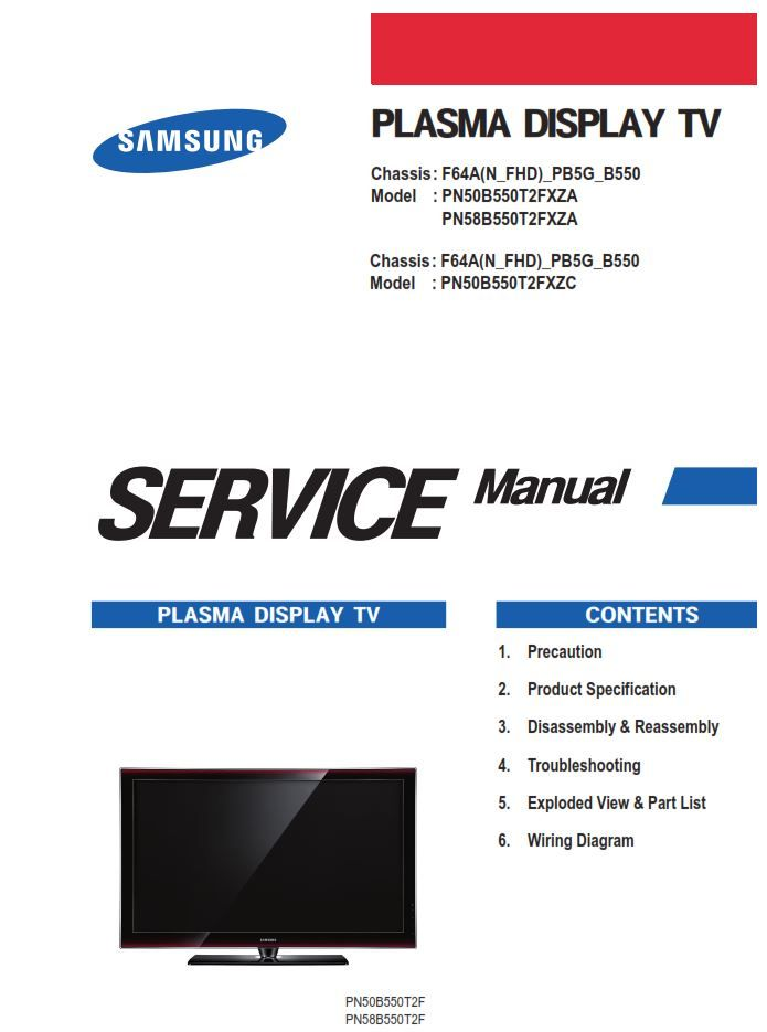 Samsung Pn50b550 Pn50b550t2f Pn58b550t2f Plasma Tv Service Manual Tv Services Plasma Tv Plasma