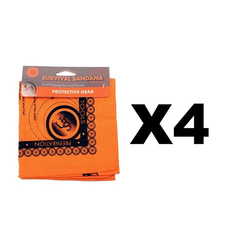 Ultimate Survival Technologies Bandana Orange Kerchief w/Survival Tips (4-Pack)