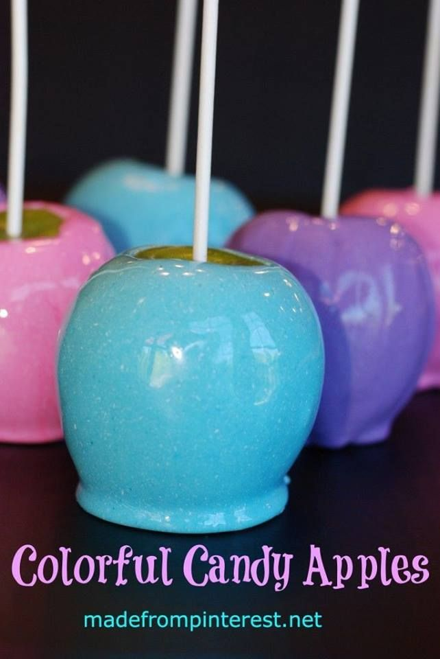 COLORFUL CANDY APPLES Posted by: Kris   6-8 medium apples (washed, dried & stems removed) I used Granny Smith apples 3 cups of white sugar ½ cup light corn syrup 1 cup water 1 tsp vanilla extract 2 Tbsp white food coloring – I used AmeriColor Bright White Soft Gel Paste 1-2 tsp. of your color of choice - the more color you use, the brighter the apples will be!) I used pink, blue and purple AmeriColor Gel Colors Candy Apple Sticks (or craft sticks or short dowels)  Cookie Sheet Non-stick…