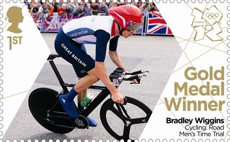 First ever stamps the Royal Mail have produced in 24 hours to celebrate all of Team GB Gold medals - Bradley Wiggins #London2012 #Olympics