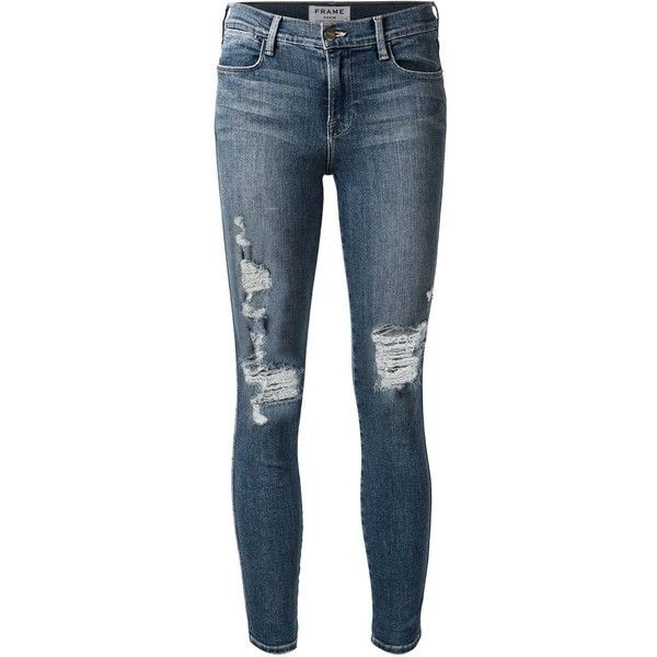 Frame Denim distressed skinny jeans found on Polyvore