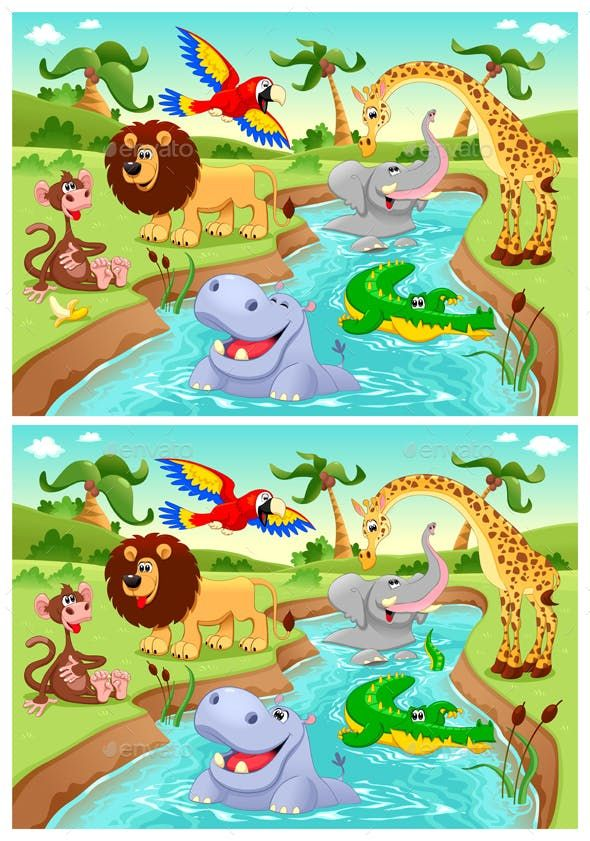Spot the Differences - Animals Characters | Oerwoud, Thema ...