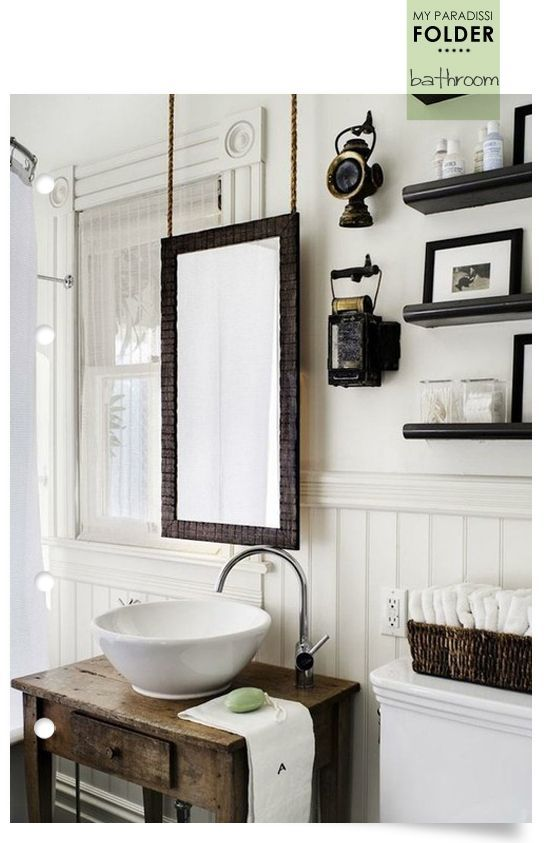 Bathroom Rope Mirror hanging from ceiling in front of window awkward bath layout ideas Natural wood sink with bowl goose neck faucet on side black shelves
