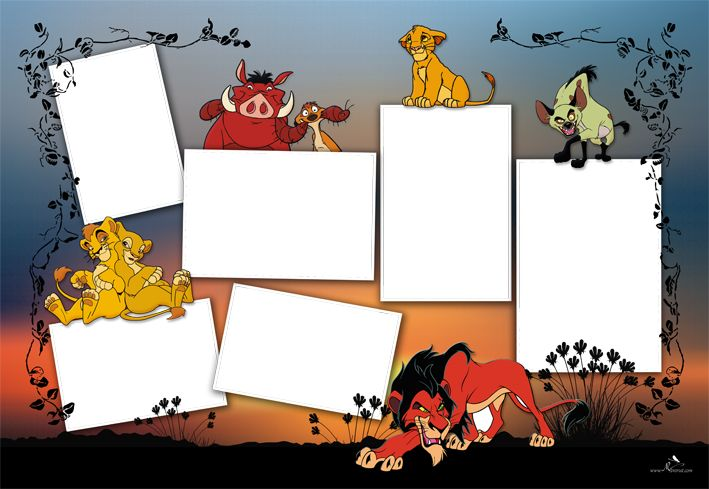 Plantilla Cartoons 29x42 para la Creación de Foto Libros - Fondo The Lion King: Imagen Fondo The Lion King. Dispone de seis casillas para insertar fotografías.