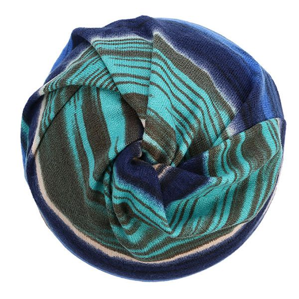 Women Cotton Colorful Stripe Beanie Hat Casual Outdoor Windproof Cap Collar Scarf at Banggood