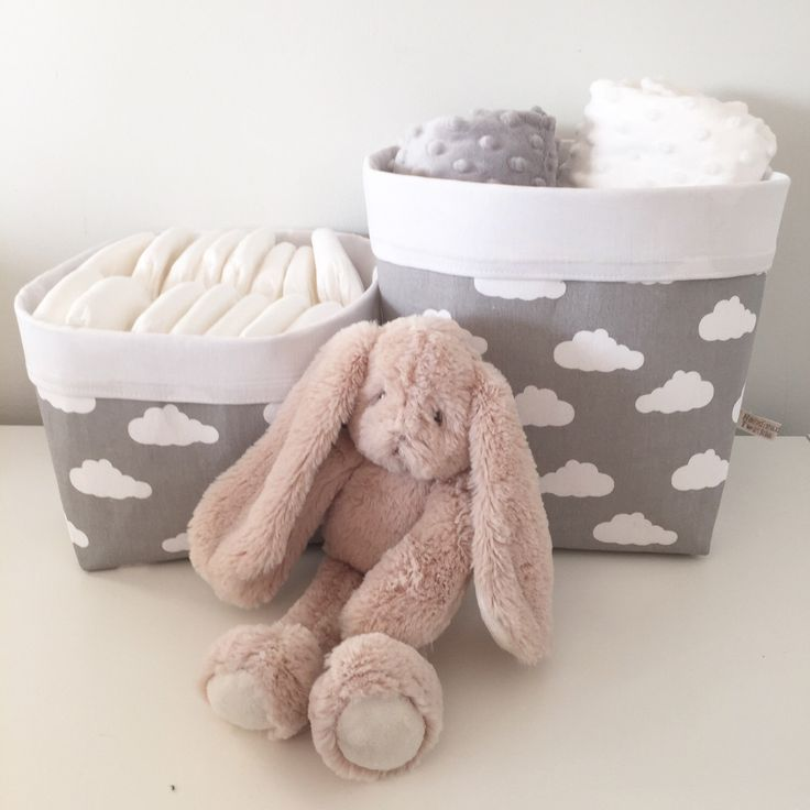 A personal favourite from my Etsy shop https://www.etsy.com/uk/listing/482059048/clouds-pair-of-fabric-storage-baskets