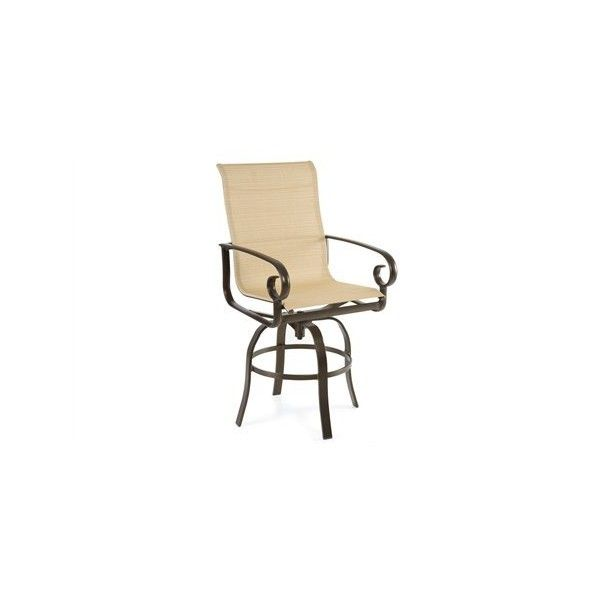 Winston Veneto Sling Cast Aluminum Side Swivel Bar Stool ($539) ❤ liked on Polyvore featuring home, outdoors, patio furniture, outdoor stools, outdoor barstools, folding bar stools, aluminum bar stools, outdoor patio furniture and swivel counter stools