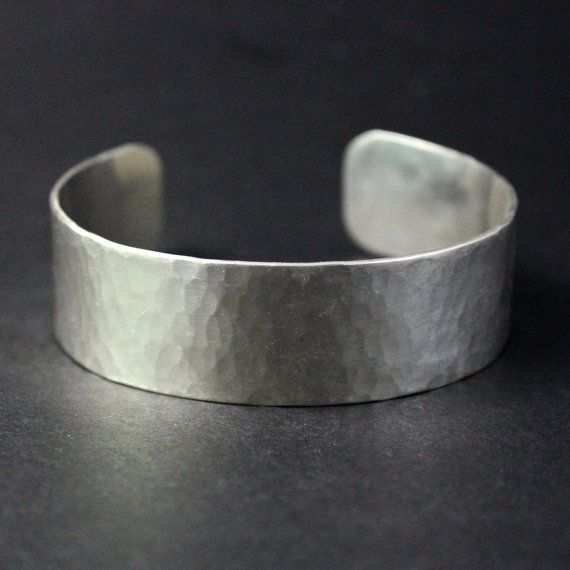 Sterling Silver Bangle Hammered Cuff Bracelet