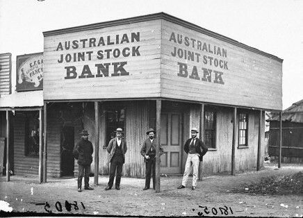 Auatralian Joint Stock Bank at Gulgong,New South Wales in the 1870s.