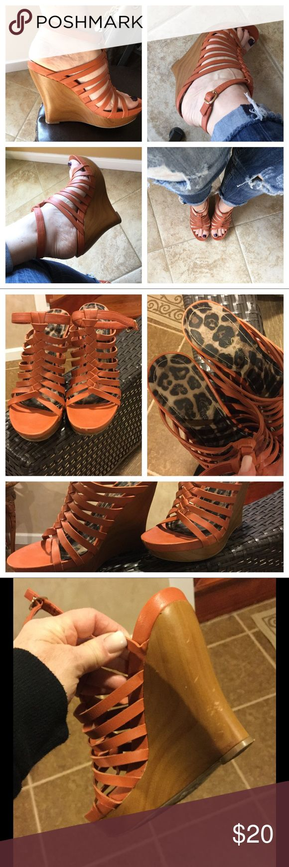 😻Jessica Simpson wedge shoe😻 Beautiful cognac color wedge shoe from Jessica Simpson...this is a statement shoe in your closet...can be worn dressy or casual..cute leopard lining on the inside..slightly damaged c pic/ good condition..nice strap that goes around ankle..comfortable to wear👍🏻 Jessica Simpson Shoes Wedges