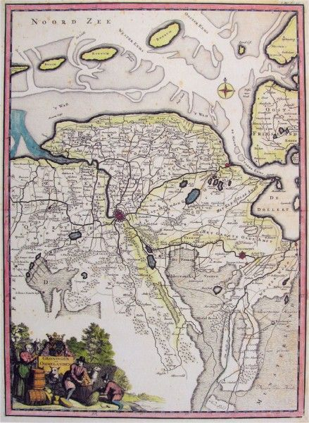 Kaart provincie Groningen - 1710 Francois Halma, 1654-1722Provinciekaart van Groningen Uit Toneel der Vereenigde Nederlanden Titelcartouche met provinciewapen linksonder Kompasroos in de waddenzee Halma, François (Langerak, 3 januari 1653 - Leeuwarden, 13 januari 1722) François Halma was drukker en uitgever. Hij was werkzaam te Utrecht vanaf 1674 waar hij zich vestigde als boekverkoper en benoemd werd tot academie drukker. In 1699 verhuisde hij naar Amsterdam, waar hij werkzaam was tot 1711