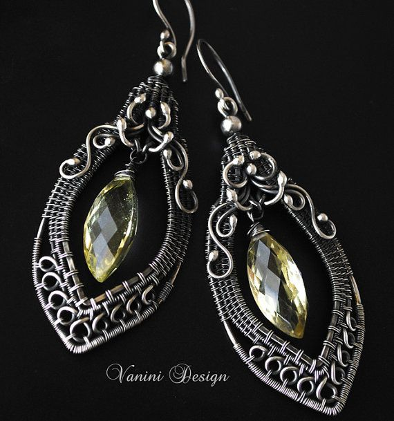 hese spectacular earrings are made from Fine999 and sterling silver and decorated with the most beautiful AAA Lemon quartz marquise briolette.