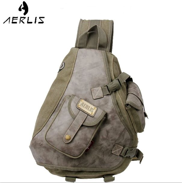 (29.03$)  Know more  - Aerlis Brand Man Canvas Shoulder Bags Chest Sling Pack Handbags Single Man Chest Casual Travel Military Messenger Bag