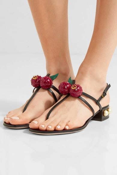 Gucci - Embellished Leather Sandals - Black - IT35.5