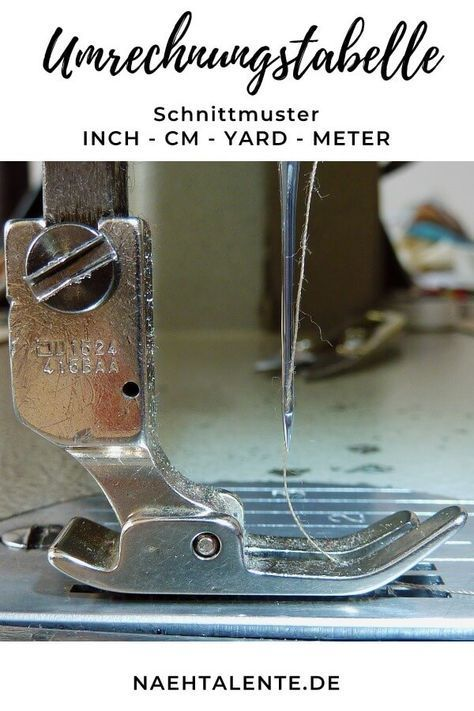 Umrechnungstabelle zum Nähen für Inch – cm – Yard – Meter