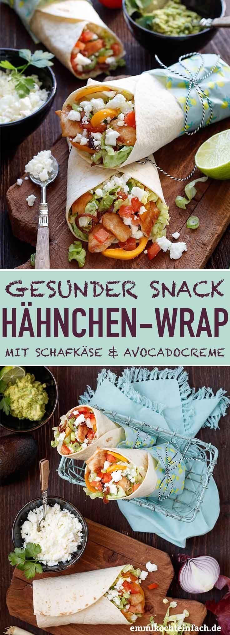Wrap mit Hähnchen, Schafskäse und Avocadocreme – Reisesnacks – Rezepte für …   – essens