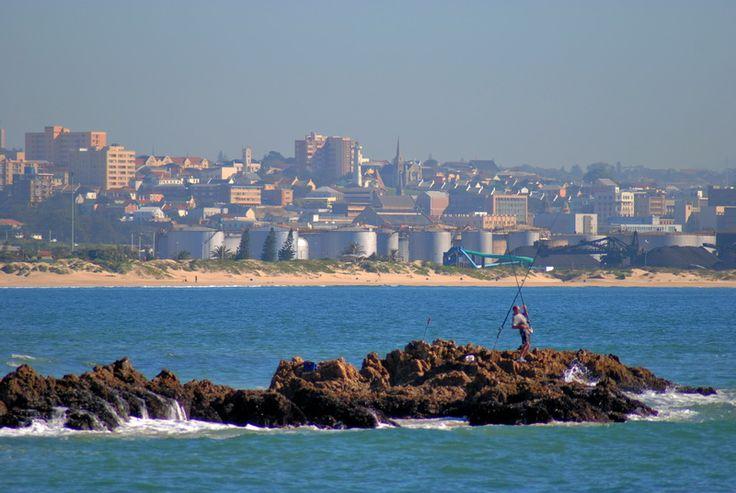 Fishing on the rocks in Port Elizabeth, South Africa.