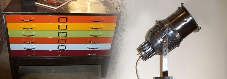Retro Bright Plan Cabinet and Polished Metal Spotlight