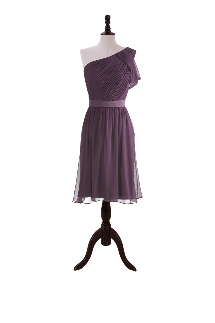 Pretty dress and I like the dusty purple color. One Shoulder Chiffon