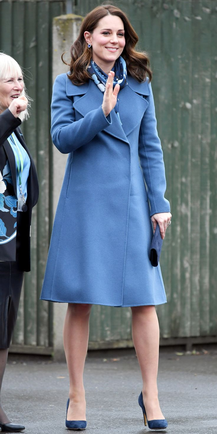 Kate Middleton knows the power of dressing head to toe in one color. During her latest sighting, she called on a few shades of blue to nail her winter-ready look. A Seraphine dress ($99; seraphine.com) was paired with a Sportmax coat, and coordinating accessories completed the flawless outfit.