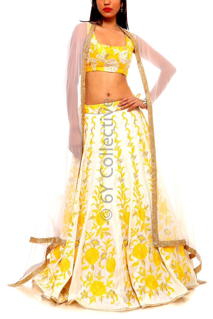 Floral Embroidery Lehenga with White