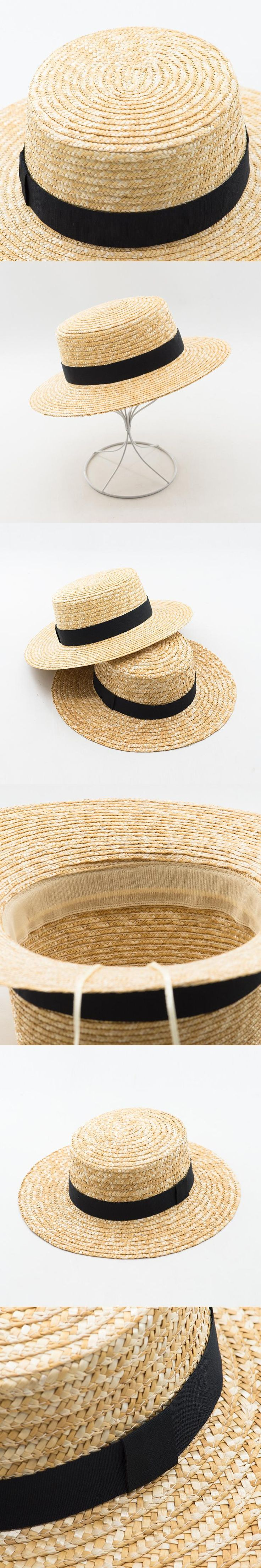 Muchique Boater Hats for Women Summer Sun Straw Hat with Wide Brim Beach Hats Girl 2017