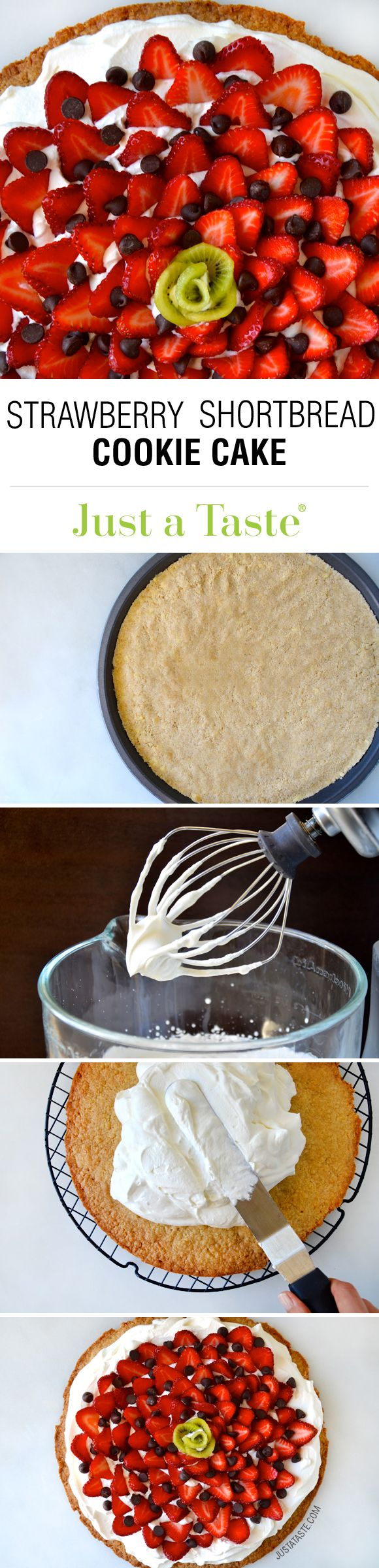 Strawberry Shortbread Cookie Cake #recipe on justataste.com