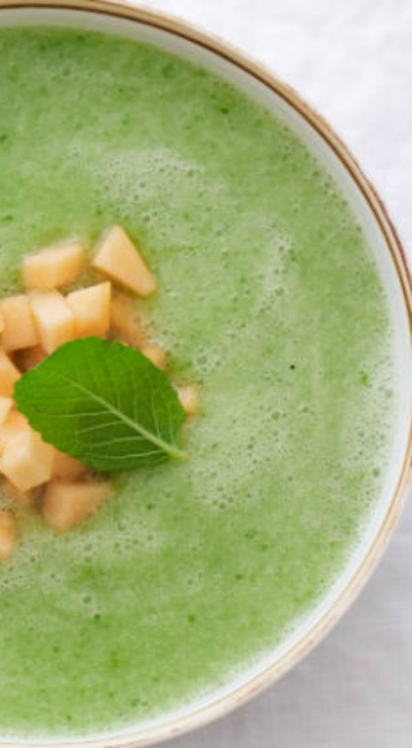 Thus healthy cucumber melon soup recipe will cool you down on a hot day.