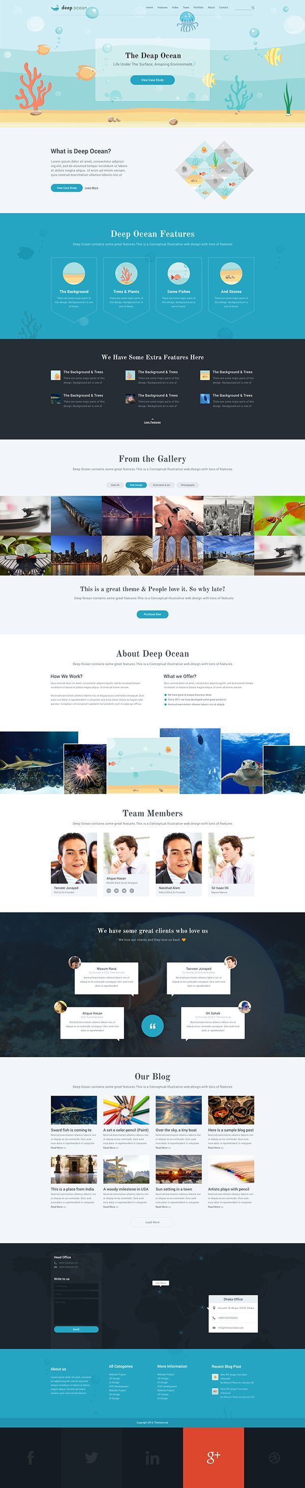 How to design a website for kids - Buy Deep Ocean Single Page Psd Template By Themexy On Themeforest Deep Ocean Has A Nice Illustration On Its Slider And Over The Whole Design