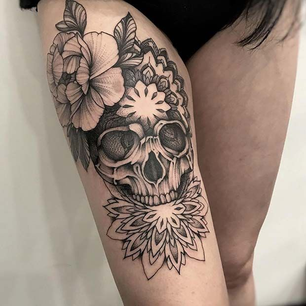 65 Badass Thigh Tattoo Ideas For Women Page 4 Of 6 Stayglam Skull Thigh Tattoos Thigh Tattoo Tattoos