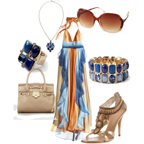 .: Maxi Dresses, Blue Gold, Calypso St., Dips Dyes, Dyes Halter, Magda Dips, Polyvore Creations, Calypso Barth, Halter Dresses