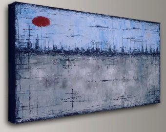 blu grigio tela astratta pittura acrilica art pittura olio casa ufficio arredamento per ufficio casa arredamento parete arte grande tela Visi made2order