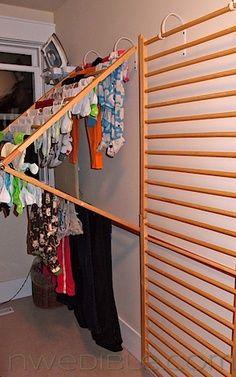 Baby gates into laundry drying racks.