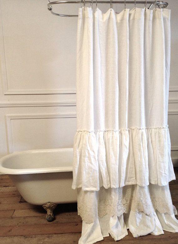 Bella Lace Ruffle Shower Curtain SALE