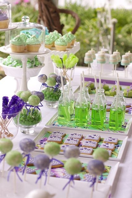 Purple and green dessert table