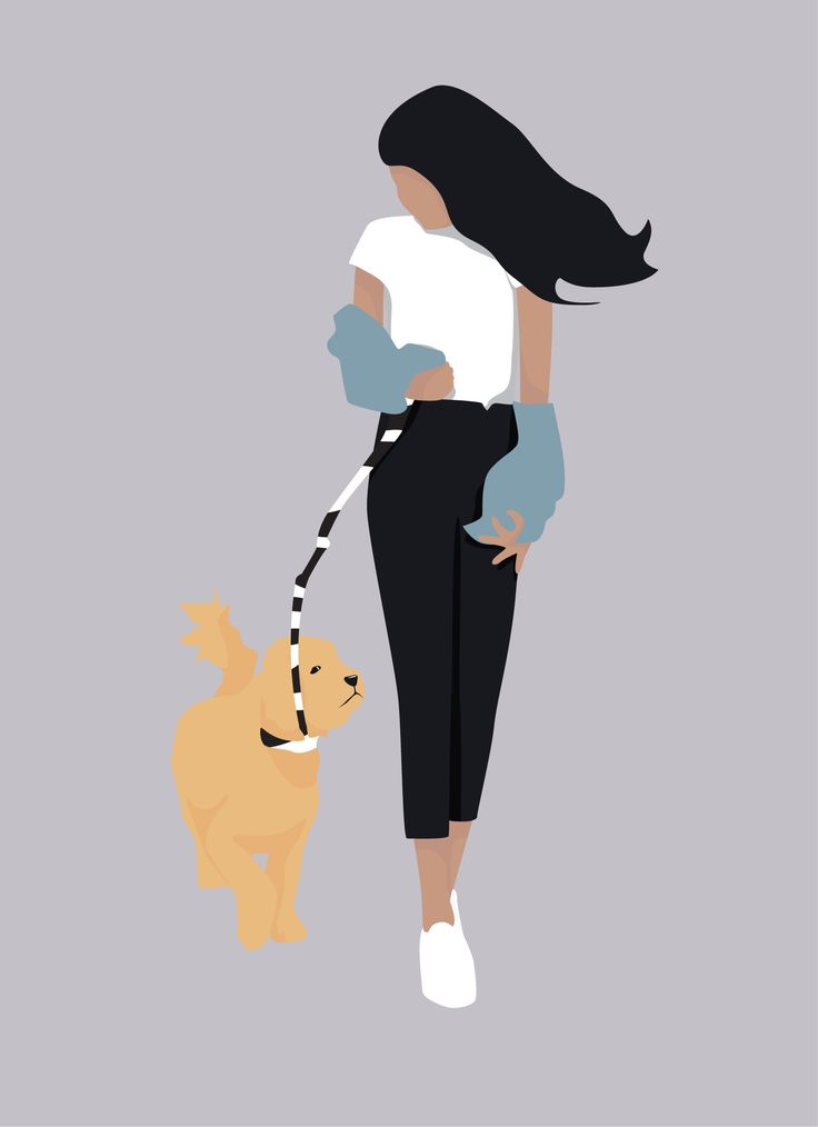 Flat Vector Woman Walking with Her Dog Illustration