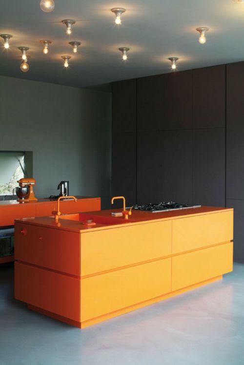 Elegant k chen design orange k cheninsel gl hbirnen