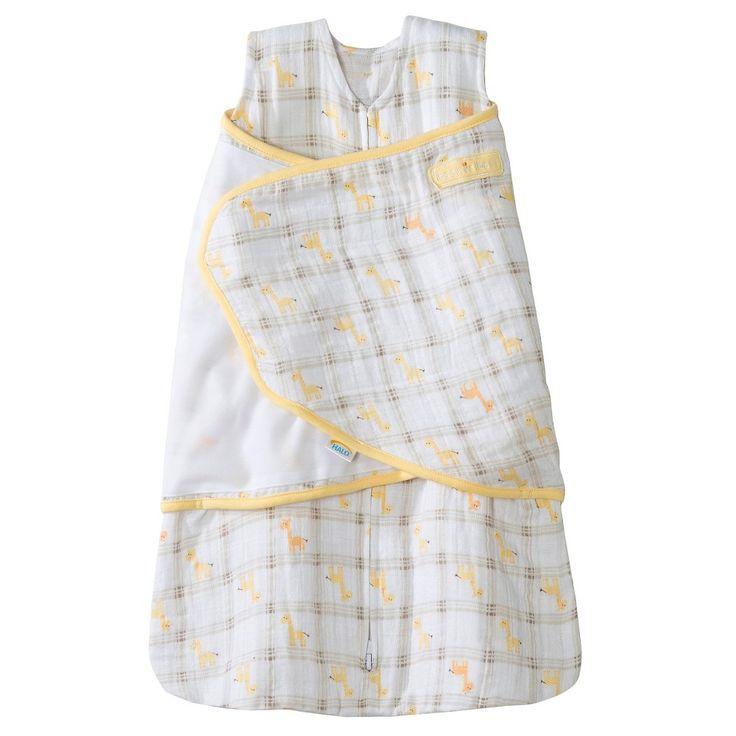 Halo Sleepsack 100% Cotton Muslin Swaddle - Yellow Giraffe Plaid - NB