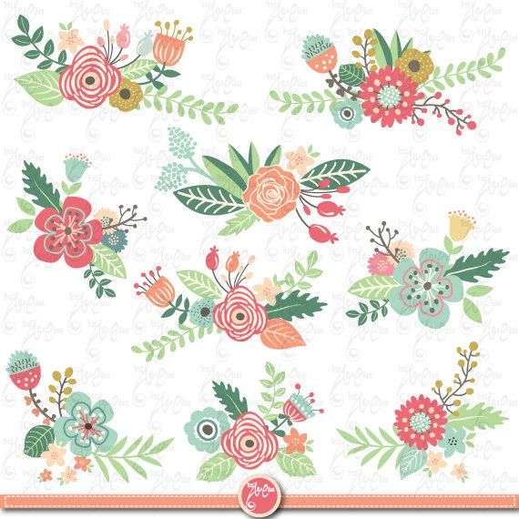 "Flowers Clipart pack ""FLOWER CLIP ART"" pack,Vintage Flowers,Spring Flower,Weding flower,Flora,Wedding invitation Wd040"
