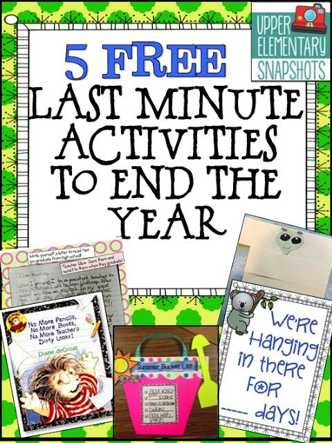 Upper Elementary Snapshots: 5 Last Minute Activities to End the Year