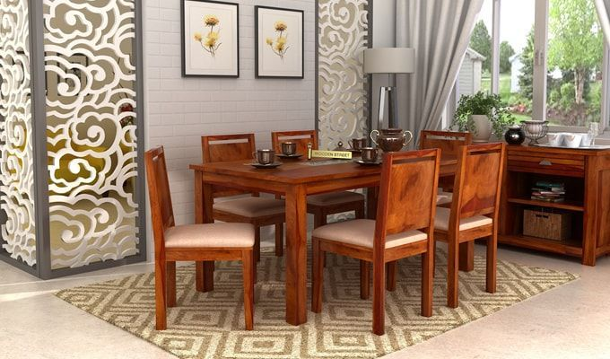 Buy Orson Compact 6 Seater Dining Chair And Table Honey Finish Online In India Wooden Street Dining Chairs Home Decor Dining Room Furniture