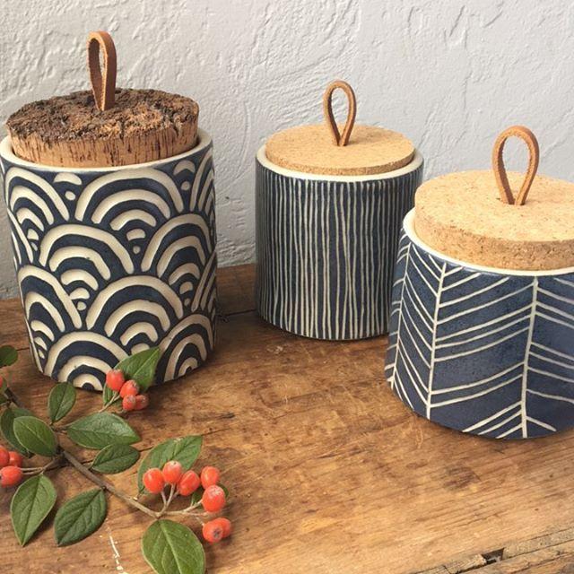 Tea jars and such. Happy Friday!! #ceramics #clay #pottery #modhomeceramics