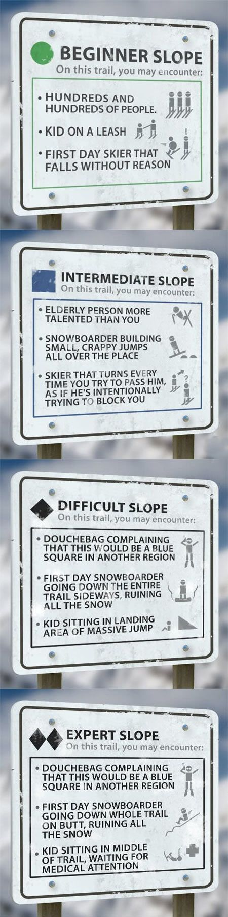 I'm on the green/blue pistes and I'm too scared to try any others!