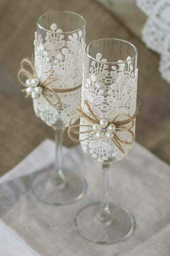 Hochzeit Brille mit Pfandrecht Seil weißer Spitze und weißen Perlen atelieviolet über Gesicht …