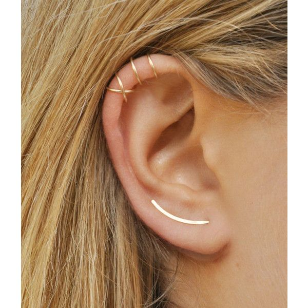 Modern Minimalist Set of 3 Ear Climber, Smooth Ear Sweeps, Double Ear... ($22) ❤ liked on Polyvore featuring jewelry, earrings, ear climbers jewelry, gold earrings jewelry, gold earrings, ear climber earrings and gold ear cuff jewelry