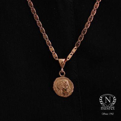925 Ayar Rose Gümüş İskender Madalyon Kolye