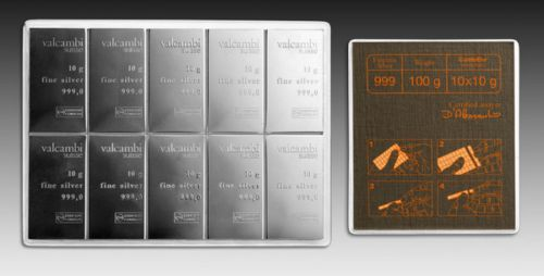 New-100-grams-10g-x-10-Silver-Valcambi-Suisse-CombiBar-Ingot-Bars-with-CAC