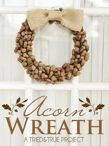 Like the acorns but think I'd use pine cones also.  Burlap wreath with a pattern might be pretty with it.